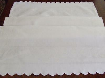 Very Large White Vintage Huck Damask Towel or Cloth with Scalloped Edges