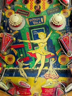 Old Photo.  Close-up of vintage Pinball Machine playfield