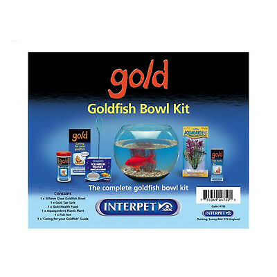 Goldfish Bowl Starter Kit Children Indoor Aquarium Food Tap Safe Net Plant Set