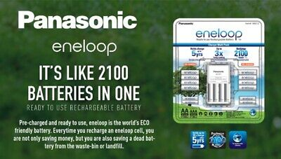 New 2018 Panasonic Eneloop Batteries & Charger 8AA 4AAA Rechargeable Instant Use