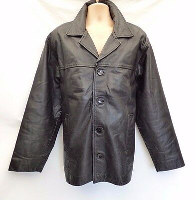 Vintage Black Thick  Real Leather AKASO Hip Length Men's Jacket Coat Size L / XL