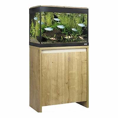 Roma 90 LED Lighting Filter Heater LCD Thermometer Aquarium Stand Cabinet Oak