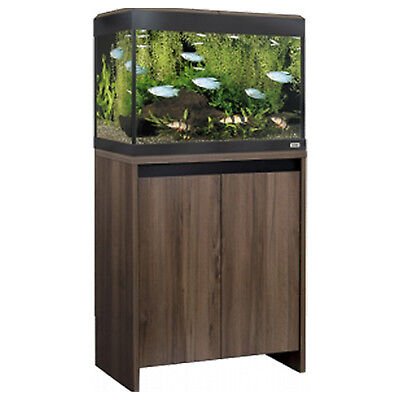 Roma LED Lighting Filter Heater LCD Thermometer Aquarium Stand Cabinet Walnut