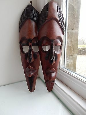 AFRICAN TRIBAL  MASK  20TH c  x Country house Ethnographic Collection  pair