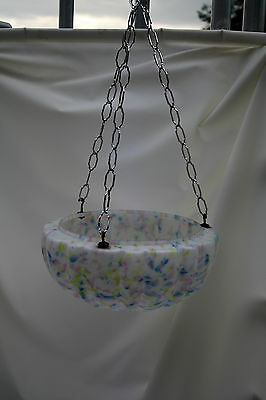 chandelier  LARGE DELICATE PASTEL GLASS BOWL   ex country house loft 1930S