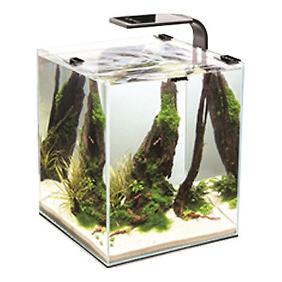 All Glass Aquael Smart Aquarium Freshwater Shrimp Small Fish Tank Set 30L Black