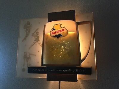 MAN CAVE BREWERIANA PIECE: Vintage FALSTAFF Beer Sports Theme Lighted Sign WORKS