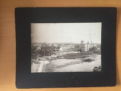 VINTAGE INDUSTRIAL LARGE FMT: Scenic Photo of a Dam and Flowing River City Side