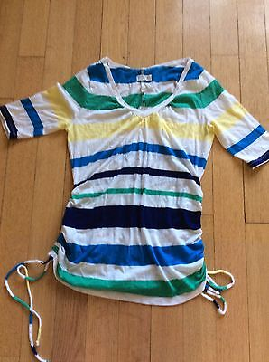 Old Navy Maternity Striped T Shirt Top Side Ruching Multi Colored Small Adorable