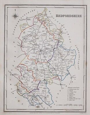 1845 ORIGINAL ANTIQUE COUNTY MAP BEDFORDSHIRE HAND COLOURED by CREIGHTON & LEWIS