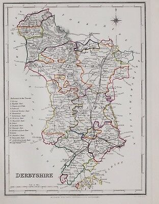 1845 ORIGINAL ANTIQUE COUNTY MAP DERBYSHIRE HAND COLOURED by CREIGHTON & LEWIS