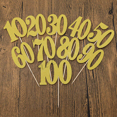 Glittering Gold Birthday Cake Topper Party Anniversary Cakes Decor 10-100th Year