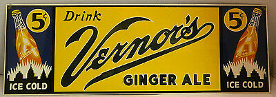 "Vintage Vernor's Ginger Ale Porcelain Enamel Sign 7.19"" x 21"" Excellent Cond"