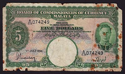 Malaya $5 Five Dollar 1941 Banknote P-12