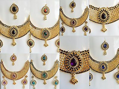 NEW Indian Bollywood Wedding Gold Tone Bridal Necklace Earrings Jewelry Set