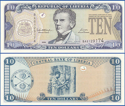 LIBERIA 2006 10 DOLLARS P-27c UNC US Seller