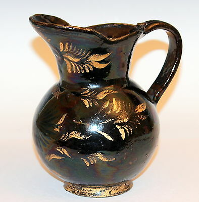 Rare Antique Early American Country Jackfield Redware Pitcher Gilt Jug Manganese