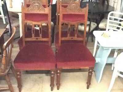 A Beautiful Set Of 4 Arts And Crafts High Back Dining Chairs