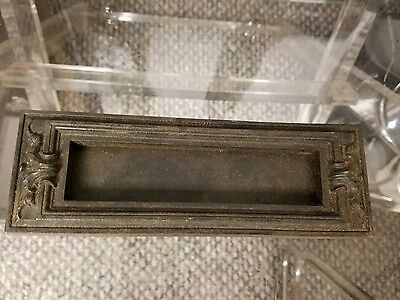 1 RARE Gothic Design ANTIQUE CAST IRON Door Mail Slot Plate RUSSWIN Ceres #420