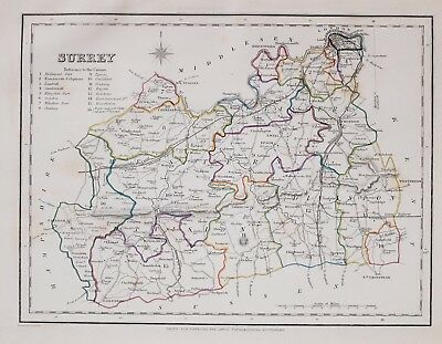 1845 ORIGINAL ANTIQUE COUNTY MAP SURREY HAND COLOURED by CREIGHTON & LEWIS