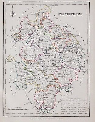 1845 ORIGINAL ANTIQUE COUNTY MAP WARWICKSHIRE HAND COLOURED by CREIGHTON & LEWIS