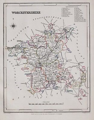 1845 Original Antique County Map Worcestershire Hand Coloured Creighton & Lewis