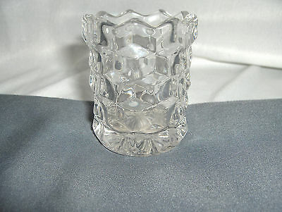Vintage Antique Clear Crystal Glass Toothpick Match Holder Block Optic NICE