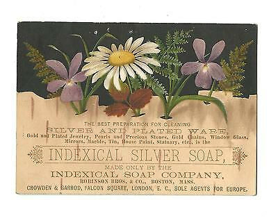 Old Trade Card Indexical Silver Soap Robinson Brothers Co Boston Daisies Violets