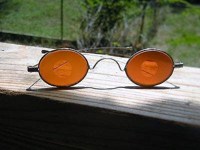 Extremely Rare Antique Red Orange Snow Goggles Glasses w/ Case 1880s Idaho