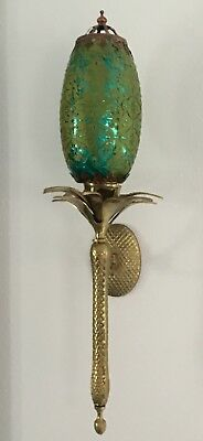 Antique Brass Pineapple Style Sconces With Glass Shades/pair