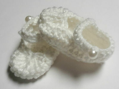 White Mary Jane strap booties/shoes/slippers - Dolls Clothes for Baby Born