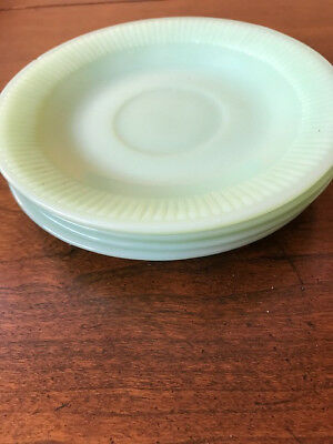 4 vintage oven Fire King jadeite saucers made in USA, ribbed edges
