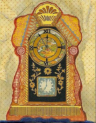 Vintage Mantel Clock Collage Art Mixed Media On Canvas Retro Style Country