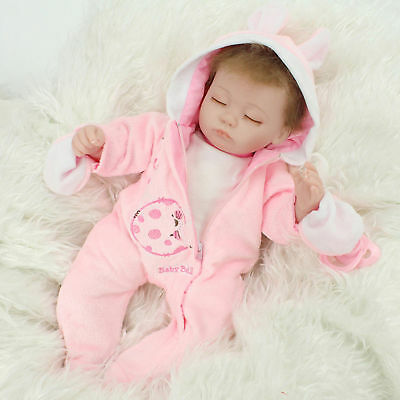 Soft Vinyl Reborn Newborn Girl Doll Handmade Lifelike Baby Dolls With Clothes