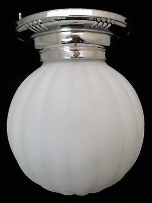 Vtg Art Deco 1930s Ceiling Light W/ Large Round Ribbed Frosted White Glass Globe