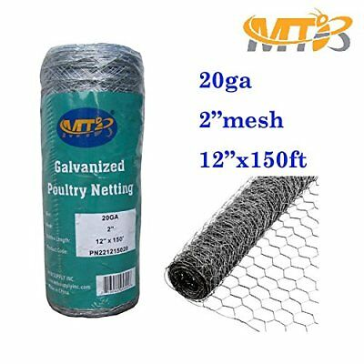 "Galvanized Hexagonal Poultry Netting Chicken Wire Garden Fencing12""x150' 2"" 20GA"