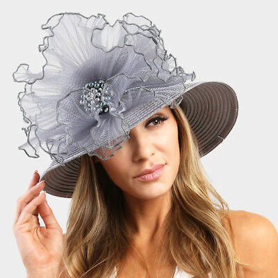 Womens Pearl Accented Flower Hat Wedding Church Kentucky Derby - USA Seller