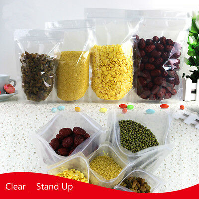 Clear Seal Plastic Bag Stand Up Zip Lock Bags Food Pouches Packaging 50pcs