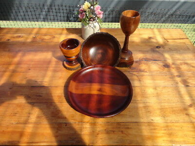 Four Pieces Australian Wood Turned Items