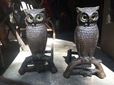 owls andirons glass eyes early 1900s Arts & Crafts Adirondack rustic MINT unused