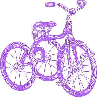 30 Custom Vintage Purple Tricycle Personalized Address Labels