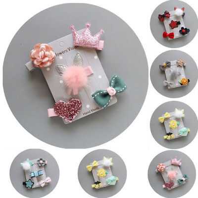 5Pcs/set Hairpin Baby Girl Kids Infant Hair Clip Bow Flower Mini Barrettes Star