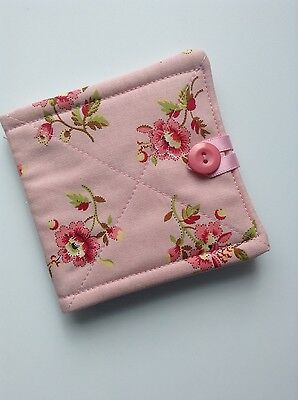 needlecase fabric pink floral Felt page inside Gift Present Needles Book