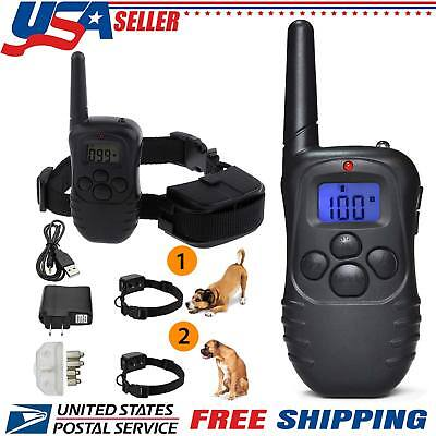 Rechargeable Electric Dog Collar Pet Training LCD Display 100LV Shock 2x Collars