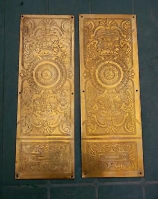 Unusual Pair of Antique Brass Door Finger Scratch Plates Stylized Dolphins