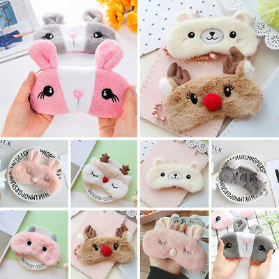 Cute Plush Animals Sleeping Eye Mask Soft Padded Eyepatch Blindfold Shield