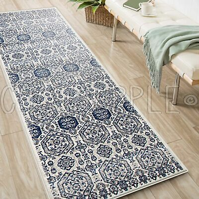 MINERVA AZTEC IVORY BLUE TRADITIONAL RUG RUNNER 80x500cm **FREE DELIVERY**