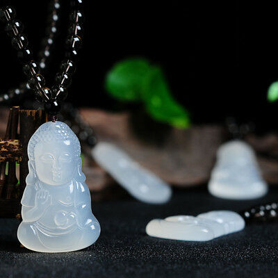 Chinese 100% Natural Agate Jade Chalcedony Lovely Buddha Jade pendant necklace