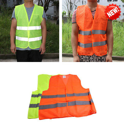 2 Pockets Neon Orange Mesh Vest with Reflective Strips For Airport Traffic