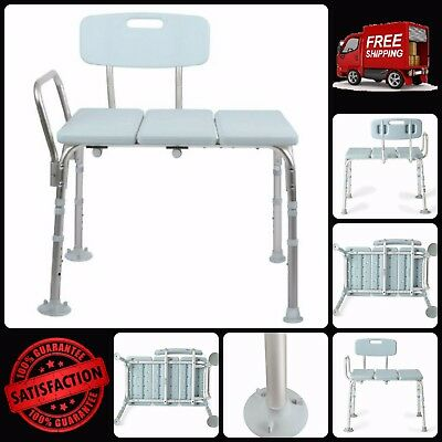 Transfer Bench W/ Backrest & Suction Cup Feet Microban Antimicrobial Protection